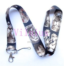 Wholesale Marilyn Monroe Key Lanyards - Hot!30pcs New Design Tattoo Marilyn Monroe Fashion Sstyle Mobile Phone LANYARD Key chain ID Neck Strap Charms