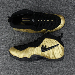 Wholesale Penny Tennis Shoes - 2017 mens new arriveal Pro Metallic Gold Black White penny hardaway men basketball shoes running Sports posite sneakers with box 624041-701