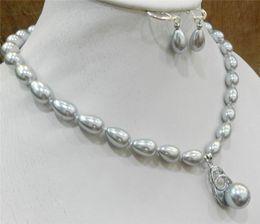 "Naturel 8x18mm Blanc Akoya Cultured Pearl Collier Pendentif 17/"" AAA"