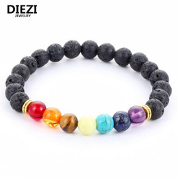 Wholesale Mens Bead Bracelets Wood - Diezi 2017 Design Mens Bracelets Black Lava 7 Chakra Healing Balance Beads Bracelet For Men Women Rhinestone Reiki Prayer Stones