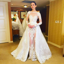Wholesale Backless Long Sleeve Wedding Dresses - Romantic White Lace See Through Bridal Gowns 2017 Sheer Neck Long Sleeves Overskirt Wedding Dresses Detachable Train Wedding Vestidos