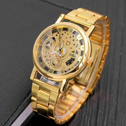 Wholesale Mens Skeleton Dial Watch - Watches for Men Skeleton Dial Stainless Steel Band Mens Watch Mineral Glass Quartz Movement Gold Silver