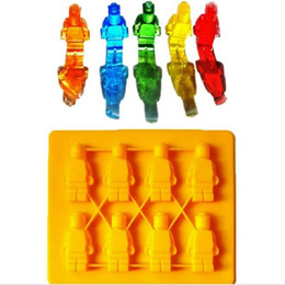 Wholesale Silicon Ice Mold - 50PCS Lego Shaped Silicon Ice Cube Tray Mini Robot Figure Silicone Chocolate Cake Mold Tray Blue Yellow Color