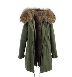 Wholesale Rabbit Fur Winter Jackets - Women's Long rabbit furs parkas hooded with Raccoon fur collar Multicolour rabbit fur lining couples winter green jacket