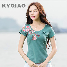 Wholesale Chinese Clothing Wholesale Women - Wholesale- KYQIAO M L XL 2XL 3XL 4XL ethnic o neck short sleeve floral leaves patter cotton t shirt tee top traditional Chinese clothing