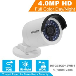 Wholesale H 264 Outdoor Poe - Free Shipping DHL Hikvision DS-2CD2042WD-I Latest Original English Version IP IP66 Bullet IP Camera H.264 4MP IR PoE Security Network Camera