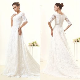 Wholesale Castle Princess Bride - Long Sleeve Lace Wedding Dresses White V-Neck Court Train New A-Line Covered Button Custom Made Hot Sale Simple Elegant Princess Bride Gowns