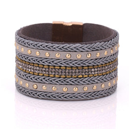 Wholesale Magnetic Bracelet Closures - Wholesale- crystal cuff bracelet luxury exclusive design leather statement bangles for women with magnetic closure jewelry vintage bohemian
