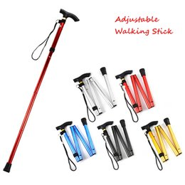 Wholesale Trekking Canes - Walking Stick Hiking Walking Trekking Trail Ultralight 4-section Adjustable Canes Aluminum Alloy Folding Cane Walking Sticks