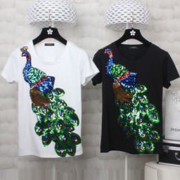 Wholesale Women S Sequin Shirts - Designer Peacock Sequins T Shirt Women 2017 Brand Round Neck Short Sleeve Embroidered White Casual Tops Black Shirts Plus Size 2XL 3XL 4XL