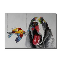 Wholesale Dog Pictures - Hand painted images for wall dog picture without frame modern canvas pet dog painting new product 2016