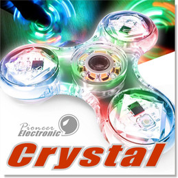 Wholesale Spinning Flashing Toys - Crystal Clear Hand Spinner Fidget Toy LED Light Transparent 3 Sides Three Blades Tri Spinner High Speed Bearing Long Spin Time