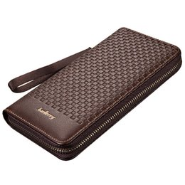 Wholesale Pattern For Coin Purse - Wholesale- Famous baellerry brand long Knitting pattern business wallet Men's leather purse large capacity clutch bag for man