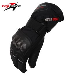 Wholesale wholesale long leather gloves - Wholesale- PRO-BIKER Outdoor Long Finger Waterproof Motorcycle Gloves Winter Warm Motocross Skiing Snowboarding Gloves Luvas Moto Guantes