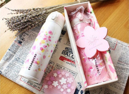 Wholesale white thermos cup - Japanese style Starbucks Pink  White Cherry blossom coffee cup Girls stainless steel sakura Vacuum Mug 450ml accompanying Cup Thermos