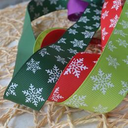 Wholesale Holiday Printed Ribbon - 25mm Christmas Snowflake Pattern Printed Green Grosgrains Ribbons Hairbows Party Christmas, Holiday, Winter Grosgrain