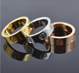 Wholesale Steel Ring For Men - Top Classic Design Famous Brand 6mm 18K gold plated lovers wedding band love ring for Women Men Valentine's Day present