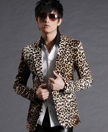 Wholesale Male Leopard Print Blazer - Wholesale- Hot Sale 2015 men blazer clothing leopard print suit slim jacket male outerwear men's coat clothing overcoat free shipping