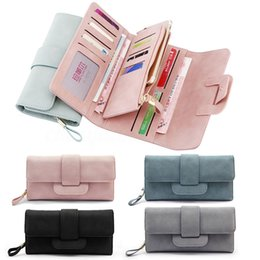 Wholesale Soft Leather Coin Purse - New Luxury Soft PU Leather Women Hasp Wallet Fashion Tri-Folds Clutch For Girls Coin Purse Card Holders Female Purse Money Bag BGE0024