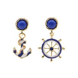 Wholesale Blue Enamel Flower Earrings - Trendy Anchor Rudder Stud Earrings For Women Enamel Black White Blue Golden Charm Earring Fashion Boat Element Jewelry Brincos