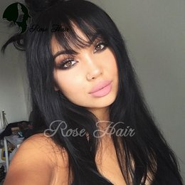 Wholesale Long Chinese Bang Wigs - Silk Top Lace Wigs Glueless Side Bangs Virgin Brazilian Human Hair Silk Base Wigs With Bangs 5*4.5'' Silk Top Full Lace Wigs