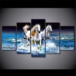 Wholesale White Beach Painting - 5 Panel Beach Waves White Horses Wall Picture For Living Room Picture Printed Painting On Canvas Wall Home Decor Canvas Painting