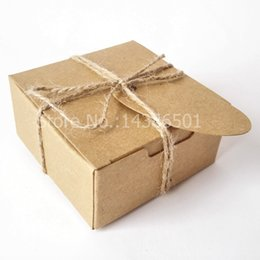 Wholesale Square Rope - Wholesales 50PCS Square Gift Wrapping Kraft Paper Box With Tags and Hemp Rope Paper Soap Box