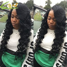 Wholesale Thick Density Lace Front Wigs - 8A Thick Virgin Peruvian Human Hair Glueless Lace Front Wigs Middle Part 150 Density Human Hair Full Lace Wigs for black women