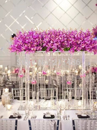 Wholesale Table Flower Vases - Free shipping Crystal tall flower stand flower vase for wedding table centerpiece Banquet supply wedding decoration 4pcs Lot