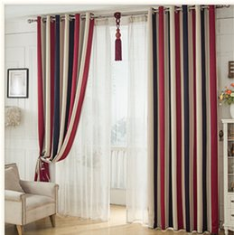 Wholesale Red Curtains For Living Room - Blackout fabric Printed curtains Vertical stripes Geometric Abstract Vintage Curtain For Living Room Balcony Kitchen Sheer Curtains