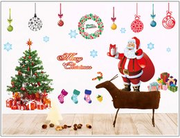 Wholesale Merry Chirstmas - 2pcs 60x90cm Big Decal Merry Christmas Tree Santa Claus Decoration Removable Mural Wall Stickers Cupboard for Christmas Shop Room Decor
