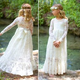 Wholesale Country Lovely - Princess Ivory Lace Lovely Country 2017 New A line Flower Girl Dresses Jewel Illusion Long sleeve Appliques Zipper Aankle-length Girl dress