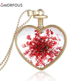 Wholesale Glass Locket Earrings - 10PCS Lot Natural Glass Real Red Dried Flower Plant Heart Pendant Best Friend Necklace Locket Charm for Women Wholesale