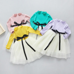 Wholesale knitted long skirt - child dress long sleeves baby girls knitting tutu skirts 2017 spring autumn girl's princess dresses kids tulle dress top fashion