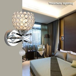 Wholesale White Wall Plate Switch - Wholesale Classic Vintage Crystal wall light Bedside Silver Gold ball crystal Wall Lamp 110V 220V crystal wall sconce with pull switch