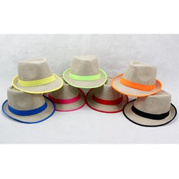Wholesale Outdoor Trimmers - Summer Women Jazz Hat With Ribbow Trim Beach Fashion Panama Cap Female Trilby Hats Solid Outdoor Caps