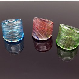 Wholesale Glass Rhinestone Foiled - 6PCS Gold Foil Lampwork Glass Murano Ring 3 Color 17-19mm CHIC