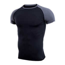 Wholesale Tight Gym Shirts Men - 2017 new men's fitness boots PRO short-sleeved gym speed dry round neck tight suit sports running training T-shirt