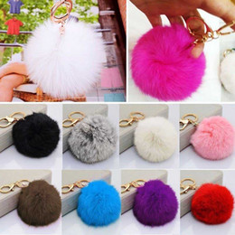 Wholesale Led Lighted Gift Bags - Hot Cute Furry Rabbit Fur Ball Keychain Handbag Grey Pink Black Furry Pendant Key Chain Keyring Bag Charms For Women Girls Gift
