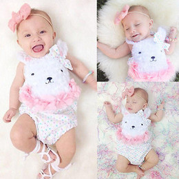 Wholesale Bear Suspenders - 2017 ins summer baby girl cute white bear rompers infants toddlers girl princess bowknot petals traingle suspender rompers one piece