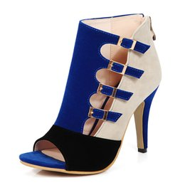 Wholesale Stiletto Heel Size 43 - Women Sandals Plus Size 33-43 Fashion Zip High Heel Summer Women Pump Shoes Woman Office Black Blue Red