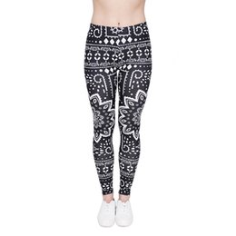 Wholesale Ethnic Pants - Women Leggings Mandala Ethnic Digital 3D Print Lady Casual Jeggings Soft Pants Girl Sportwear Capris Elastic Waist Band Trousers (J46001)
