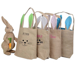 Wholesale Shopping Bags For Vegetable - Kids Easter Gift Bag 5 Colors Rabbit Ears Shaped Handbags For Women Creative Large Bunny Ears Women Totes Canvas Shopping Bags 255*305*100mm