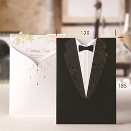 Wholesale New Black Wedding Card - new Fashion Wedding Invitations Black Suits style Golden Embroidery White letters Handwritting Words Invitation Cards for Party CW2011