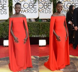 Wholesale Short Sleeve Fancy Dresses - 2016 Red Capet Celebrity Dresses Golden Globe Award Lupita Prom Dresses Off the Shoulder Sexy Fancy Cape Cloak Bateau Sheath Evening Gowns