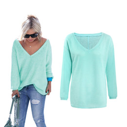 Wholesale Women S Cashmere Sweaters Wholesale - Wholesale-High Quality 2016 Autumn Winter Sweater Women Pullovers Casual Thick Cashmere Sweaters V-Neck Loose Pullover Long Sleeve Jumpers