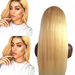 Wholesale Lace Wigs Virgin Straight - 10A 130% Pre Plucked Blonde Lace Wigs with Baby Hair 613 Malaysian Virgin Hair Straight Gluless Human Hair Wig Can be Dyed Curled