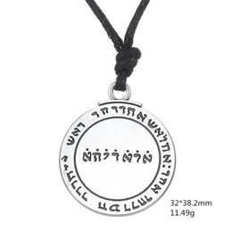Wholesale Wicca Amulet - 5 PCS Double sided Talisman Hand Stamped For Good Luck antique slivery Pendant Necklace amulet Jewelry Wicca Words for Man