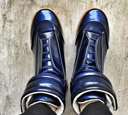 Wholesale Hip Sneakers - free shipping new Cheap Mens Margiela Shoes,MMM Maison Martin Margiela High Top Margiela Sneakers Genuine Leather Kanye West Hip-hop Casual