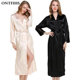 Wholesale Womens Satin Silk Pajamas - Wholesale- Silk Satin Sleepwear Robes For Womens Long Sleeve Pajamas Nightwear Femme Lounge Pyjama Black Champagne Pink Robe One Size A5